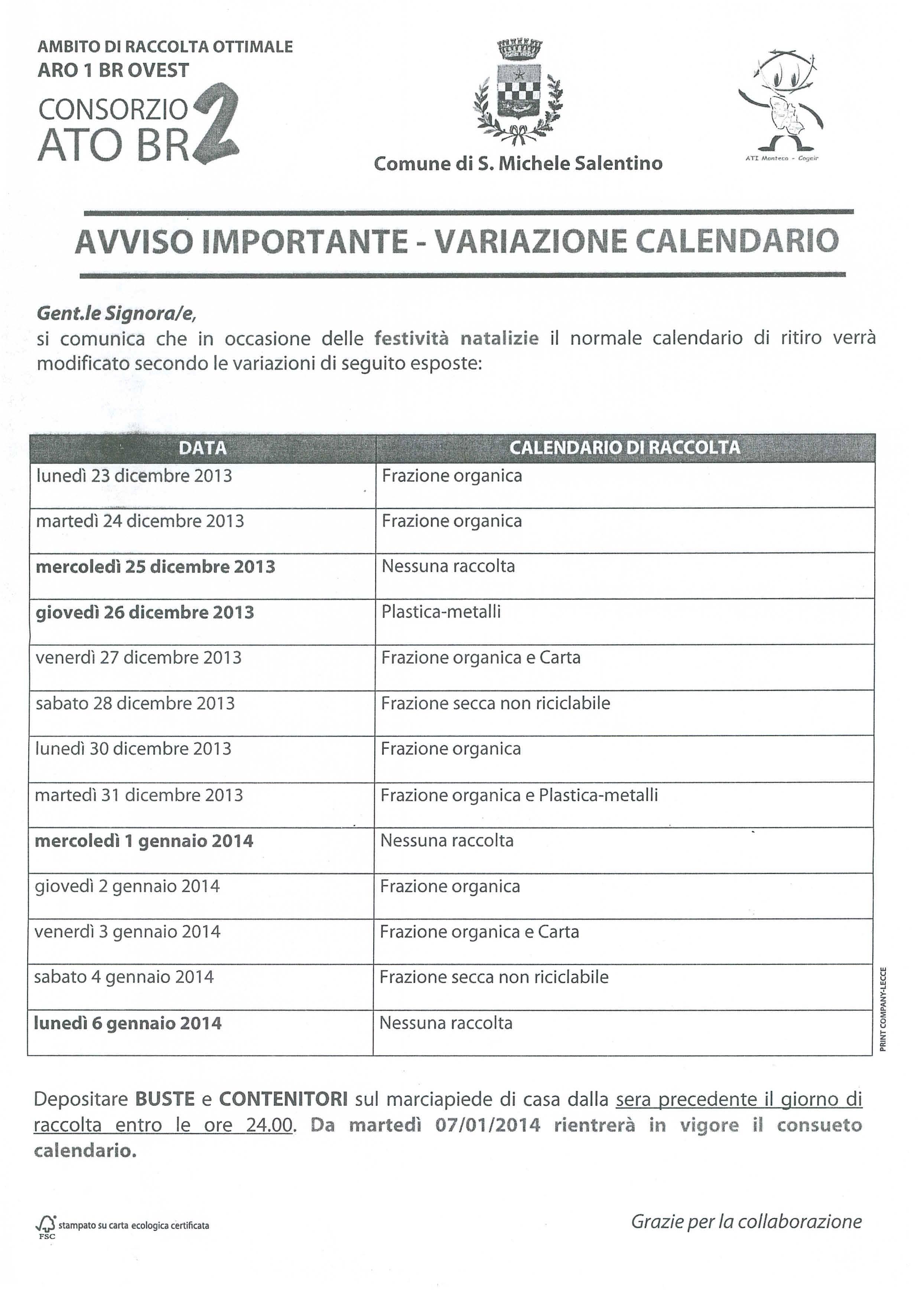 San Michele Data Calendario.Variazione Calendario Raccolta Differenziata Periodo